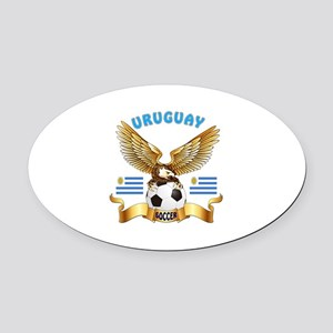 Uruguay Football Design Oval Car Magnet