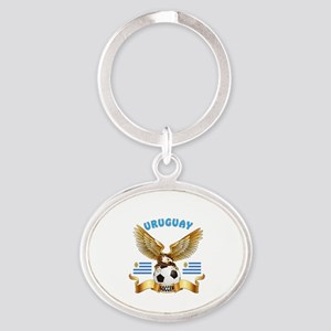 Uruguay Football Design Oval Keychain