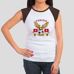 Tunisia Football Design Women's Cap Sleeve T-Shirt