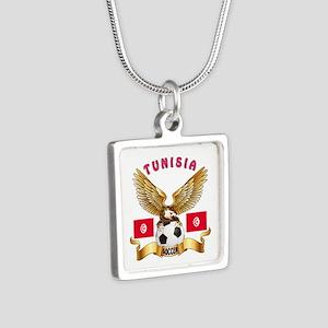 Tunisia Football Design Silver Square Necklace