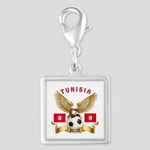 Tunisia Football Design Silver Square Charm