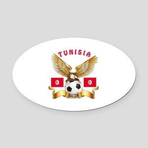 Tunisia Football Design Oval Car Magnet