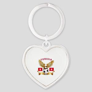 Tunisia Football Design Heart Keychain