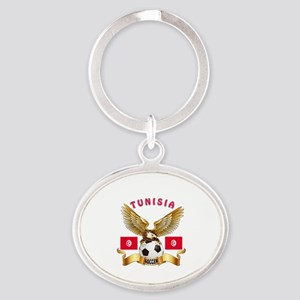 Tunisia Football Design Oval Keychain
