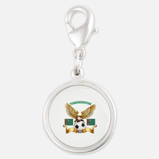 Turkmenistan Football Design Silver Round Charm