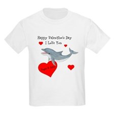 Personalized Dolphin Valentine Kids Light T-Shirt