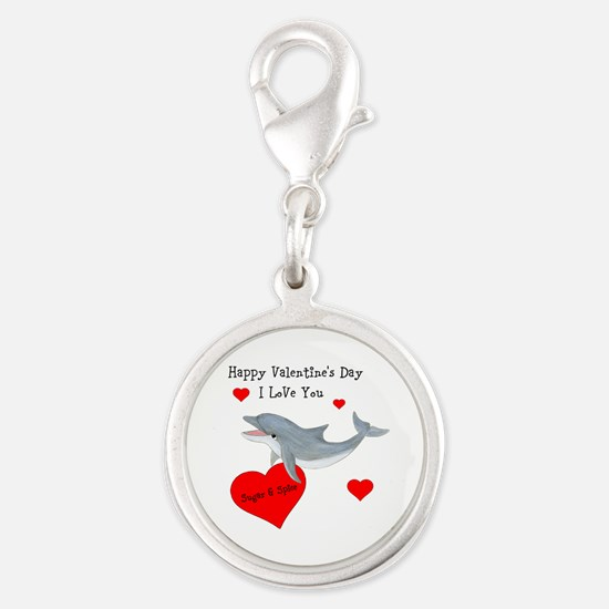 Personalized Dolphin Valentine Silver Round Charm