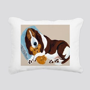 Basset Asleep With Teddy Rectangular Canvas Pillow