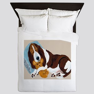 Basset Asleep With Teddy Queen Duvet