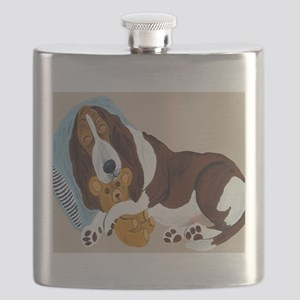 Basset Asleep With Teddy Flask