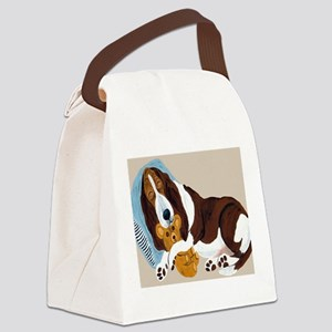 Basset Asleep With Teddy Canvas Lunch Bag