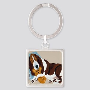 Basset Asleep With Teddy Square Keychain