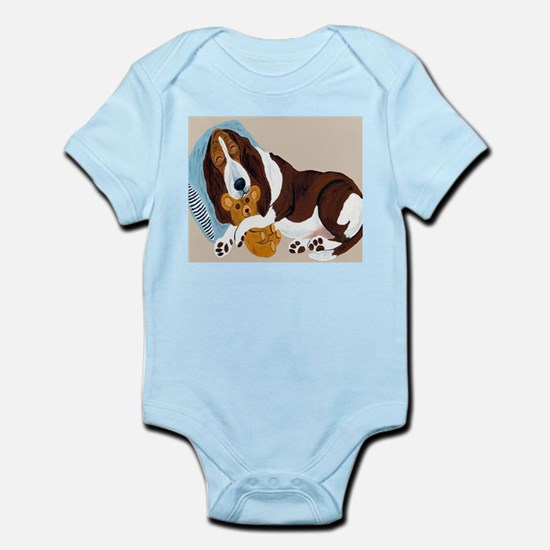Basset Asleep With Teddy Infant Bodysuit