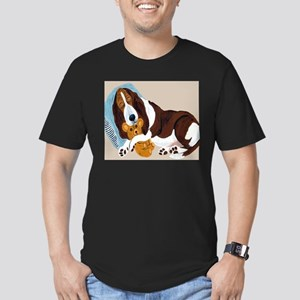 Basset Asleep With Teddy Men's Fitted T-Shirt (dar