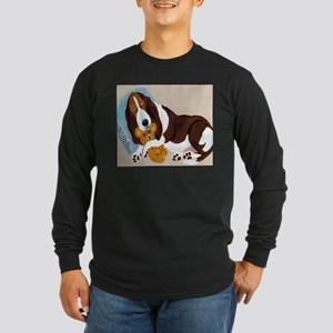 Basset Asleep With Teddy Long Sleeve Dark T-Shirt