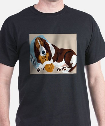 Basset Asleep With Teddy T-Shirt