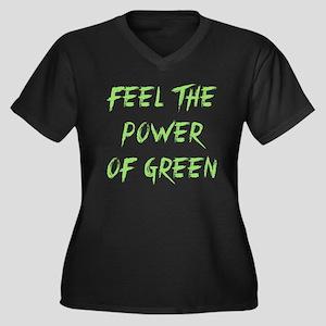 Feel The Power Of Green Women's Plus Size V-Neck