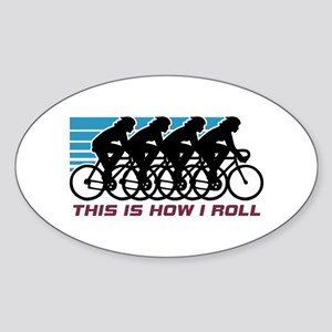 Cycling (female) Sticker (Oval)