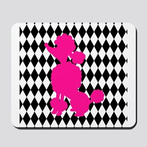 Hot Pink Poodle on Black and White Diamonds Mousep