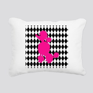 Hot Pink Poodle on Black and White Diamonds Rectan