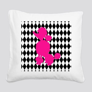 Hot Pink Poodle on Black and White Diamonds Square