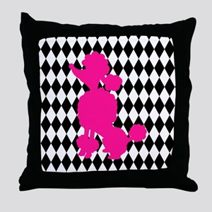 Hot Pink Poodle on Black and White Diamonds Throw