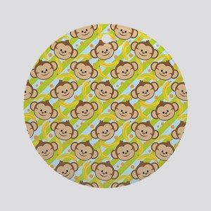 Repeating Happy Monkeys Ornament (Round)