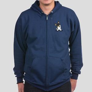 KiniArt Tricolor Corgi Zip Hoodie (dark)
