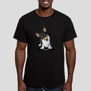 KiniArt Tricolor Corgi Men's Fitted T-Shirt (dark)