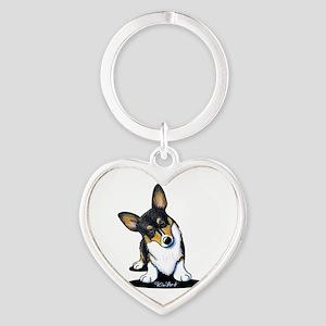 KiniArt Tricolor Corgi Heart Keychain
