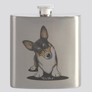 KiniArt Tricolor Corgi Flask