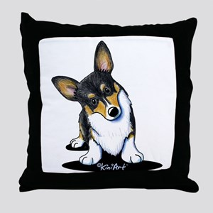 KiniArt Tricolor Corgi Throw Pillow