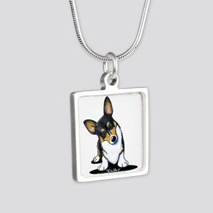 KiniArt Tricolor Corgi Silver Square Necklace