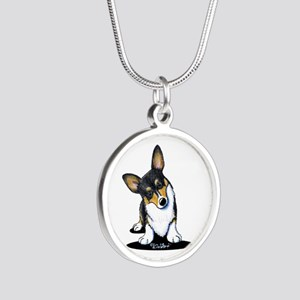 KiniArt Tricolor Corgi Silver Round Necklace