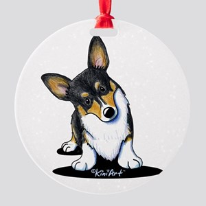 KiniArt Tricolor Corgi Round Ornament