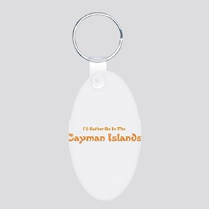Id Rather Be...Caymans Aluminum Oval Keychain