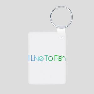 I Live To Fish Aluminum Photo Keychain