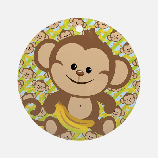 Cute Cartoon Monkey Ornament (Round)