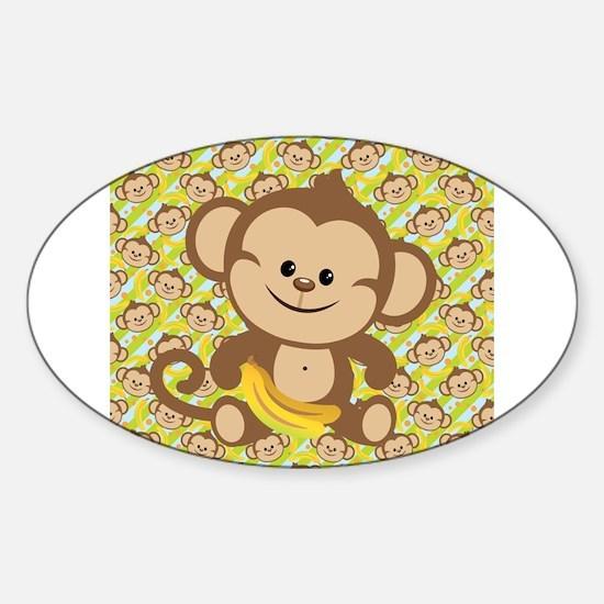 Cute Cartoon Monkey Sticker (Oval)