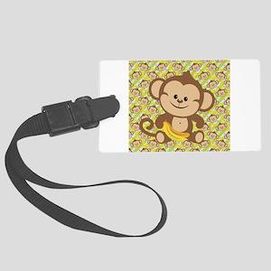 Cute Cartoon Monkey Large Luggage Tag