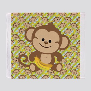 Cute Cartoon Monkey Throw Blanket