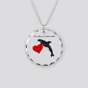 Personalized Whale Necklace Circle Charm