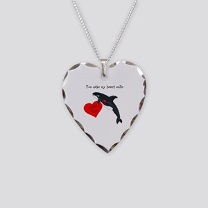 Personalized Whale Necklace Heart Charm