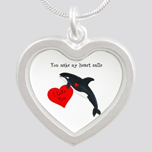 Personalized Whale Silver Heart Necklace