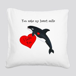 Personalized Whale Square Canvas Pillow