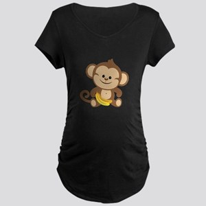 Cute Cartoon Monkey Maternity Dark T-Shirt