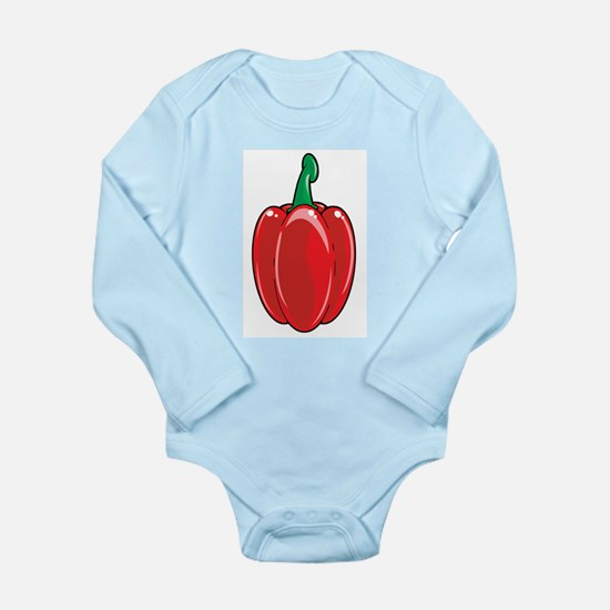 Red Bell Pepper Long Sleeve Infant Bodysuit