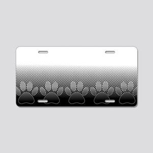 Black And White Paws With N Aluminum License Plate