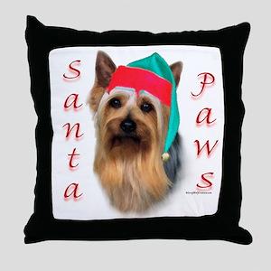 Santa Paws Silky Terrier Throw Pillow