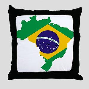 Brasil Flag Map Throw Pillow